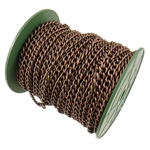 Żelazny drut na pętli, żelazo, Owal, Platerowane kolorem starej miedzi, bez zawartości niklu, ołowiu i kadmu, 6x8.30x1.40mm, długość:25 m