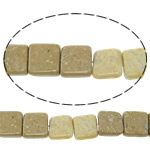 Natural Picture Jasper Beads, Square, 14x14x6mm, Hole:Approx 1.5mm, Approx 29PCs/Strand, Sold Per Approx 16 Inch Strand
