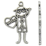 Character Shaped Zinc Alloy Pendants, antique silver color plated, nickel, lead & cadmium free, 19x28x1.50mm, Hole:Approx 1.5mm, Approx 680PCs/KG, Sold By KG