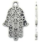 Zinklegering Hamsa Hangers, Zinc Alloy, antiek zilver plated, Joodse Jewelry, nikkel, lood en cadmium vrij, 16x25x1.50mm, Gat:Ca 2mm, Ca 529pC's/KG, Verkocht door KG