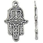 Zinklegering Hamsa Hangers, Zinc Alloy, antiek zilver plated, Joodse Jewelry & Islam sieraden, nikkel, lood en cadmium vrij, 15x25.50x2mm, Gat:Ca 2mm, Ca 337pC's/KG, Verkocht door KG