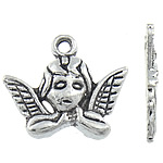 Character Shaped Zinc Alloy Pendants, Angel, antique silver color plated, nickel, lead & cadmium free, 19x16x3mm, Hole:Approx 2mm, Approx 680PCs/KG, Sold By KG