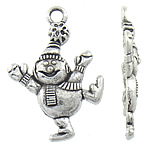 Character Shaped Zinc Alloy Pendants, Snowman, antique silver color plated, nickel, lead & cadmium free, 21x29.50x7.50mm, Hole:Approx 3mm, Approx 574PCs/KG, Sold By KG