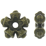 Zinc Alloy Spacer Beads, Flower, antique bronze color plated, nickel, lead & cadmium free, 11x11x4mm, Hole:Approx 2mm, Approx 934PCs/KG, Sold By KG