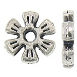 Zinc Alloy Spacer Beads, Flower, antique silver color plated, nickel, lead & cadmium free, 8.50x8.50x1.60mm, Hole:Approx 1.8mm, Approx 3030PCs/KG, Sold By KG