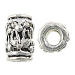 Zinc Alloy Jewelry Beads, Drum, antique silver color plated, nickel, lead & cadmium free, 6x9mm, Hole:Approx 2.5mm, Approx 555PCs/KG, Sold By KG