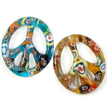 Millefiori Slice Lampwork Pendants, Oval, gold sand, 42x48x6mm, Hole:Approx 3mm, 12PCs/Box, Sold By Box