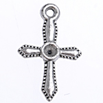 Zinc Alloy Pendant Rhinestone Setting, Cross, antique silver color plated, lead & cadmium free, 20x12x1.60mm, Hole:Approx 1.5mm, Approx 666PCs/Bag, Sold By Bag