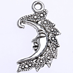 Zinc Alloy Pendants, Moon, antique silver color plated, nickel, lead & cadmium free, 25x14.50x2mm, Hole:Approx 1.8mm, 1000PCs/Bag, Sold By Bag