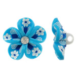 Polymer Clay Beads, Flower, blue, 31x16mm, Hole:Approx 4mm, 100PCs/Bag, Sold By Bag