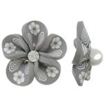 Koraliki z gliny polimerowej, Glina polimerowa, Kwiat, szary, 31x16mm, otwór:około 4mm, 100komputery/torba, sprzedane przez torba