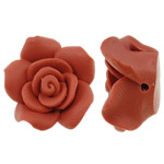 Polymer Clay Beads, Flower, orange, 24x23mm, Hole:Approx 1mm, 100PCs/Bag, Sold By Bag