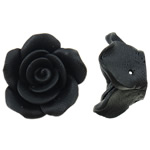 Polymer Clay Beads, Flower, black, 20x11mm, Hole:Approx 1mm, 100PCs/Bag, Sold By Bag