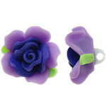 Polymer Clay Beads, Flower, purple, 31x21mm, Hole:Approx 4mm, 100PCs/Bag, Sold By Bag