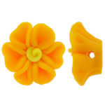 Polymer Clay Beads, Flower, yellow, 18x9mm, Hole:Approx 2mm, 100PCs/Bag, Sold By Bag