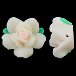 Polymer Clay Beads, Flower, white, 20x12mm, Hole:Approx 2mm, 100PCs/Bag, Sold By Bag