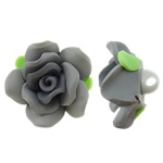 Polymer Clay Beads, Flower, grey, 30x21mm, Hole:Approx 4mm, 100PCs/Bag, Sold By Bag
