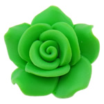 Polymer Clay Beads, Flower, green, 24x23x11.50mm, Hole:Approx 2mm, 100PCs/Bag, Sold By Bag