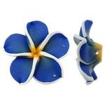 Koraliki z gliny polimerowej, Glina polimerowa, Kwiat, niebieski, 32x30.50x11.50mm, otwór:około 2mm, 100komputery/torba, sprzedane przez torba