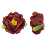 Polymer Clay Beads, Flower, red, 17x16x10mm, Hole:Approx 1.5mm, 100PCs/Bag, Sold By Bag