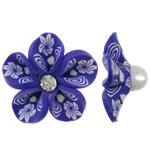 Koraliki z gliny polimerowej, Glina polimerowa, Kwiat, fioletowy, 31x14mm, otwór:około 4mm, 100komputery/torba, sprzedane przez torba