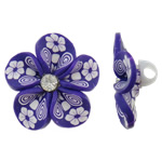 Polymer Clay Beads, Flower, purple, 31x16mm, Hole:Approx 4mm, 100PCs/Bag, Sold By Bag