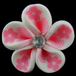 Polymer Clay Beads, Flower, white, 30x15mm, Hole:Approx 4mm, 100PCs/Bag, Sold By Bag