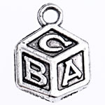 Zinc Alloy Pendants, Cube, antique silver color plated, lead & cadmium free, 14x10x2mm, Hole:Approx 1.9mm, Approx 1250PCs/Bag, Sold By Bag