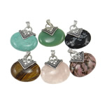 Mixed Gemstone Pendants, with Zinc Alloy, Oval, natural, mixed colors, 40x40mm, Hole:Approx 4x8mm, 30PCs/Bag, Sold By Bag