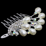 Decorative Hair Combs, zinc alloy with charming rhinestone &amp; plastic pearl decoration, nickel, lead &amp; cadmium free, 60x51x27.5mm, 12PCs/Bag, Sold by Bag