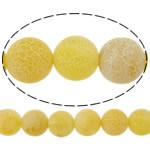 Natuurlijke Effloresce Agaat kralen, Ronde, verschillende grootte voor keus, geel, Gat:Ca 1-1.2mm, Per verkocht Ca 15 inch Strand