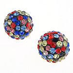 Rhinestone Clay Pave Beads, Round, with 76 pcs rhinestone & with A grade rhinestone, multi-colored, 12mm, Hole:Approx 1mm, 10PCs/Bag, Sold By Bag