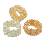 Freshwater Pearl Finger Ring, with glass seed beads, mixed color, 8#, 13mm, 10PC/Bag, Sold by Bag