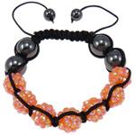 Resin Shamballa Bracelets, with Nylon Cord & Non Magnetic Hematite & Resin Rhinestone, orange, 10x12mm, Length:7.5 Inch, 10Strands/Lot, Sold By Lot