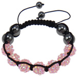 Resin Shamballa Bracelets, with Nylon Cord & Non Magnetic Hematite & Resin Rhinestone, pink, 10x12mm, Length:7.5 Inch, 10Strands/Lot, Sold By Lot