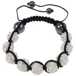 Resin Shamballa Bracelets, with Nylon Cord & Non-magnetic Hematite & Resin Rhinestone, white, 10x12mm, Length:7.5 Inch, 10Strands/Lot, Sold By Lot