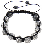 Resin Shamballa Bracelets, with Nylon Cord & Non-magnetic Hematite & Resin Rhinestone, 10x12mm, Sold Per 7.5 Inch Strand