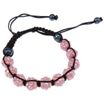Resin Shamballa Bracelets, with Nylon Cord & Non Magnetic Hematite & Resin Rhinestone, woven, with rhinestone, pink, 10x8mm, Length:7.5 Inch, 10Strands/Lot, Sold By Lot