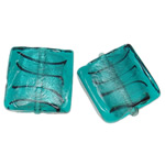 Silver Foil Lampwork Beads, Square, blue, 20x6mm, Hole:Approx 2mm, 100PCs/Bag, Sold By Bag