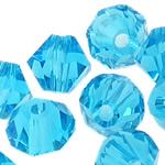 Koraliki z kryształów CRYSTALLIZED™ego, CRYSTALLIZED™, Podwójny stożek, akwamaryna, 6mm, otwór:około 1mm, 50komputery/torba, sprzedane przez torba