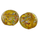 Silver Foil Lampwork Beads, Flat Round, yellow, 25x12mm, Hole:Approx 2-3mm, 100PCs/Bag, Sold By Bag