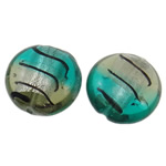 Silver Foil Lampwork Beads, Flat Round, two tone, 22x12mm, Hole:Approx 2-2.5mm, 100PCs/Bag, Sold By Bag