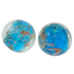 Gold Sand Lampwork Beads, Round, 14mm, Hole:Approx 1.5-2mm, 100PCs/Bag, Sold By Bag