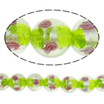 Silver Foil Lampwork Beads, Round, 14mm, Hole:Approx 2mm, 100PCs/Bag, Sold By Bag