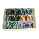 кольцо Лампворк, Лэмпворк, серебрянная фольга, разноцветный, 27x27x26mm, отверстие:Приблизительно 17mm, размер:7, 12ПК/Box, продается Box