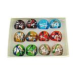 кольцо Лампворк, Лэмпворк, золотой песок и серебряное фольгирование, разноцветный, 27x27x24mm, отверстие:Приблизительно 17mm, размер:7, 12ПК/Box, продается Box
