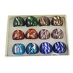 кольцо Лампворк, Лэмпворк, серебрянная фольга, разноцветный, 28x27x24mm, отверстие:Приблизительно 19mm, размер:9.5, 12ПК/Box, продается Box