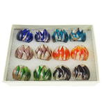 кольцо Лампворк, Лэмпворк, золотой песок, разноцветный, 28x27x23mm, отверстие:Приблизительно 19mm, размер:9.5, 12ПК/Box, продается Box
