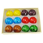 Lampwork Finger Ring stripe mixed colors 28x29x23mm Hole:Approx 19mm US Ring Size:9.5 12PCs/Box