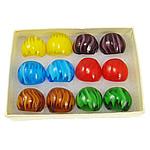 кольцо Лампворк, Лэмпворк, в полоску, разноцветный, 28x29x23mm, отверстие:Приблизительно 19mm, размер:9.5, 12ПК/Box, продается Box
